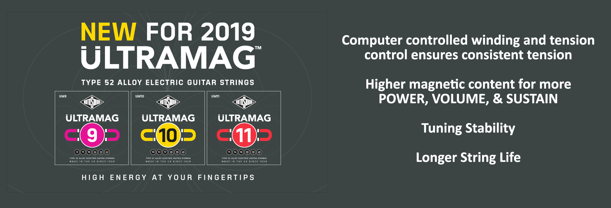 NEW FOR 2019! Rotosound Ultramag Electric Strings